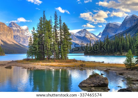 Spirit Island in Maligne Lake, Jasper Nationall park, Alberta, Canada - stock photo