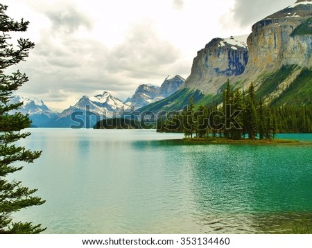 Spirit Island in Maligne Valley in Jasper Alberta Canada