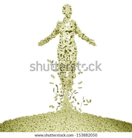 Spirit of money. Human-shaped pile of money. - stock photo