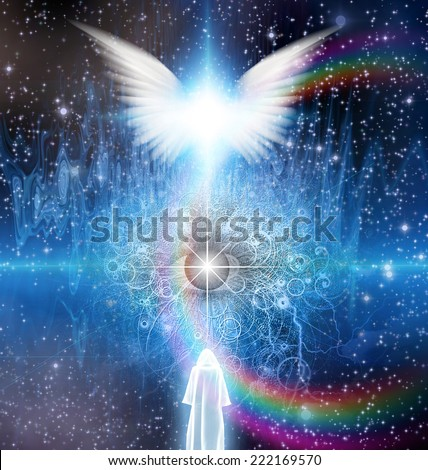 Spiritual sci fi scene with angel and cloaked figure - stock photo