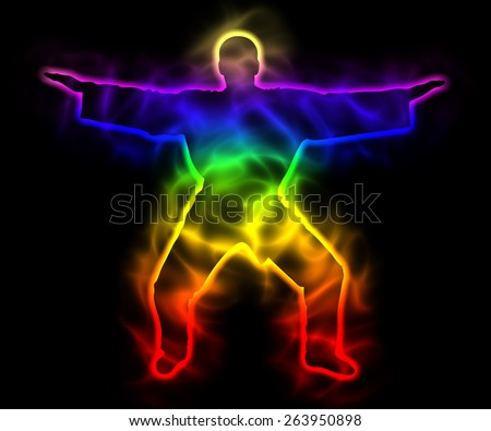 Spirituality and serenity - rainbow master samurai - silhouette - stock photo