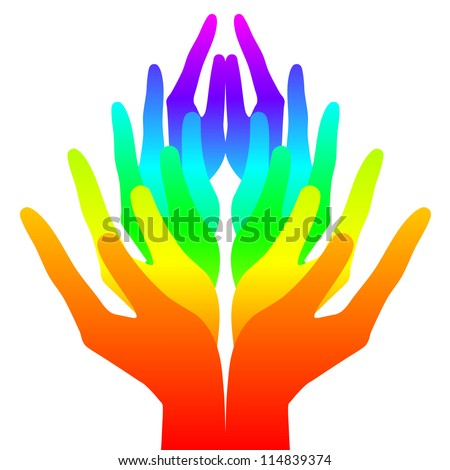 Spirituality, peace and love - colorful icon - stock photo