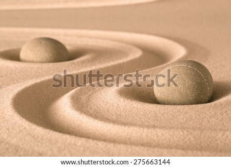 spirituality stone and sand zen garden. Harmony balance and purity fro meditation and relaxation - stock photo