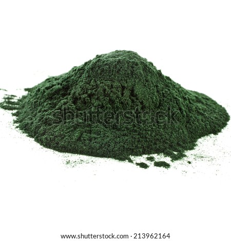 Spirulina powder algae nutritional supplement heap surface close up top view, isolated on white background - stock photo