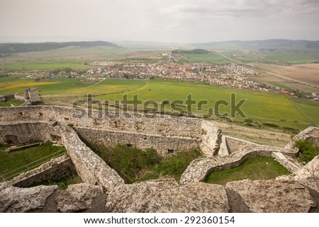 Spissky castle - Look from tower to south and courtyards  in Slovakia - stock photo