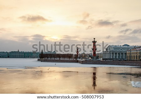 Spit of Vasilievsky Island in winter in Saint Petersburg at dawn. Russia. Focus on the stock exchange building