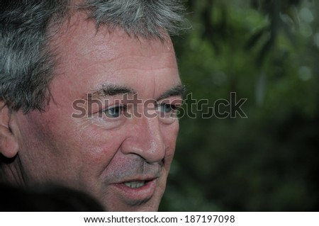 "SPITAK, ARMENIA - OCTOBER 1: Ian Gillan of Deep Purple gives interview as he visits the Spitak Memorial on October 1, 2009 in Spitak, Armenia within the framework of ""Armenia Grateful 2 Rock"" project."