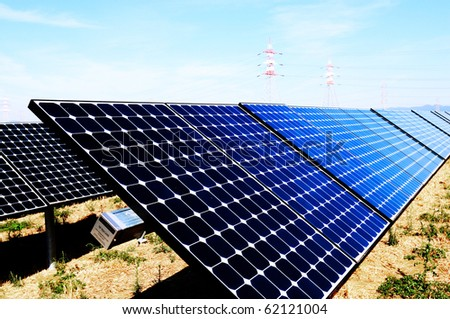 splar panels and pylons - stock photo
