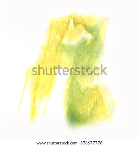 splash  abstract yellow green watercolor ink blot watercolour isolated white background  - stock photo
