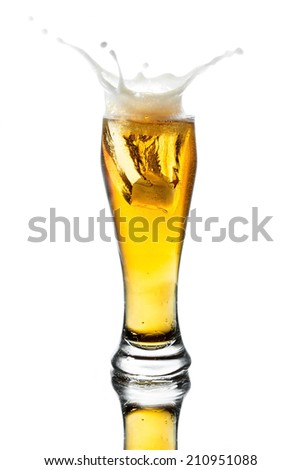 splash beer in glass on white background with reflection