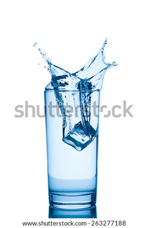 Splash from ice cube in a glass of water, isolated on the white background,  - stock photo