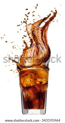 Splash from ice cubes in a glass of cola, isolated on the white background. Closeup