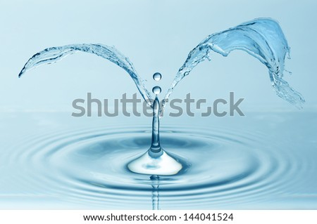 Splash of blue water plant - stock photo