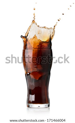 Splash of cola in glass isolated on white - stock photo