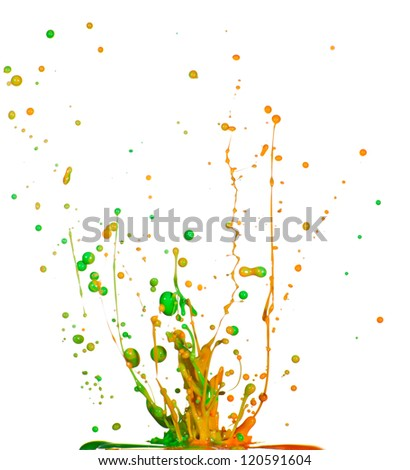 Splash of colorful liquid iolated on white background - stock photo