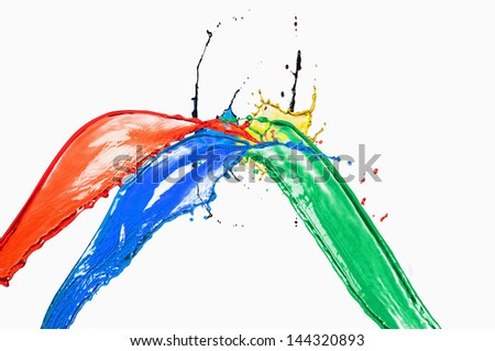 Splash of different color paints on a white background