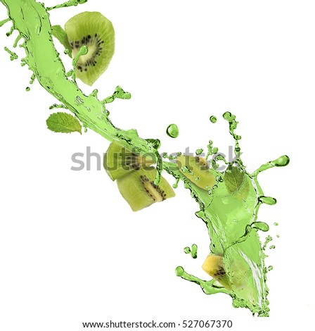 splash of green juice and kiwi fruit on a white background
