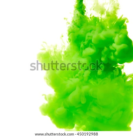 Splash of green paint isolated on white background - stock photo