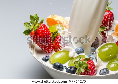Splash of milk pushes fresh fruit from the bowl
