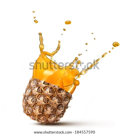 splash of pineapple juice isolated on white background - stock photo