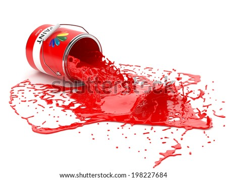 Splash of red paint in can isolated on white background - stock photo