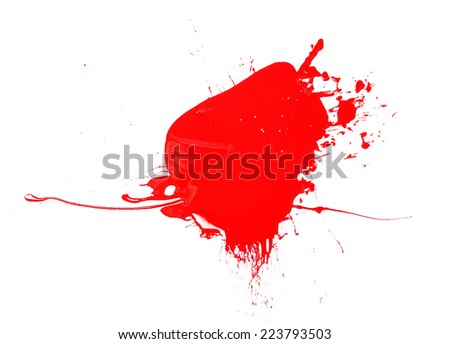 Splash of red paint isolated on white