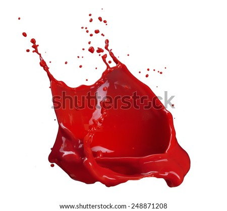 splash of red paint isolated on white background - stock photo