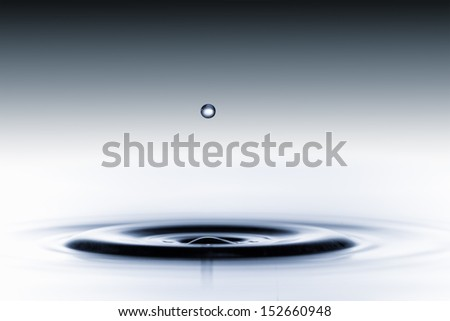 splash of water drops on a blue background - stock photo