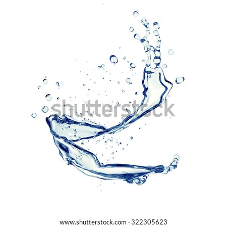 splash of water isolated on white with clipping path.