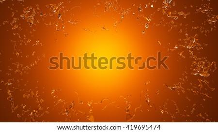 Splash of water on an orange background, 3D illustration, 3D rendering - stock photo