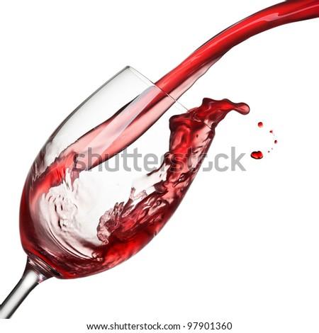 Splash of wine isolated on white - stock photo