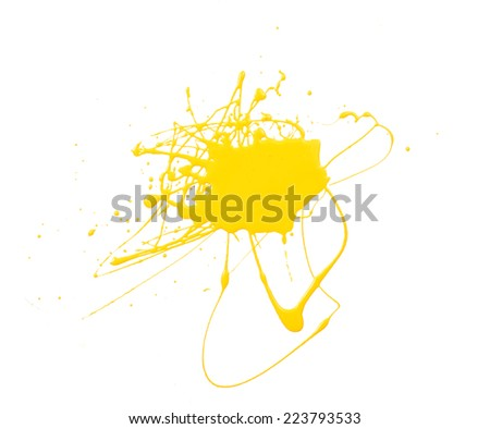 Splash of yellow paint isolated on white