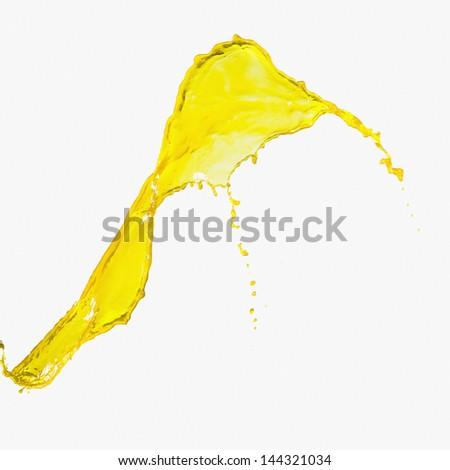 Splash of yellow paint on a white background - stock photo