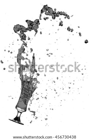 Splash out drink from glass on a white background.