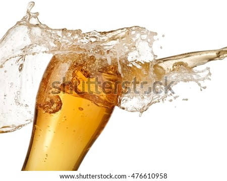 Splash over a beer glass, close up