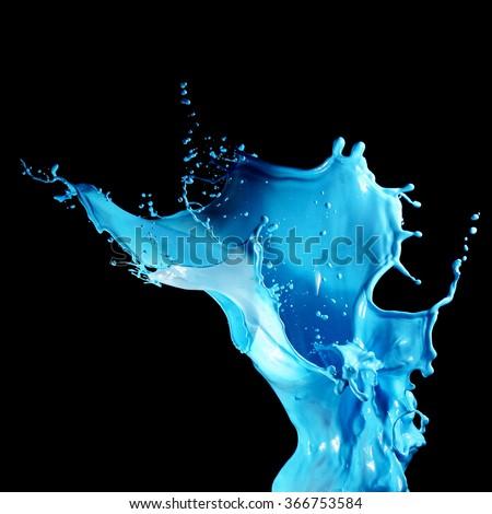 Splash paint isolated on black background - stock photo