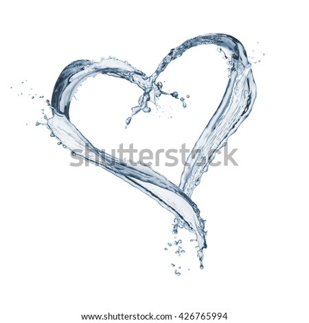 splash water heart shaped, isolated on white - stock photo