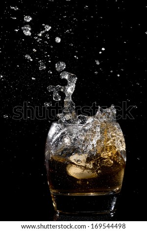 Splash water like whiskey in the glass on dark background