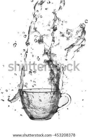 Splash water out of a glass on a white background.