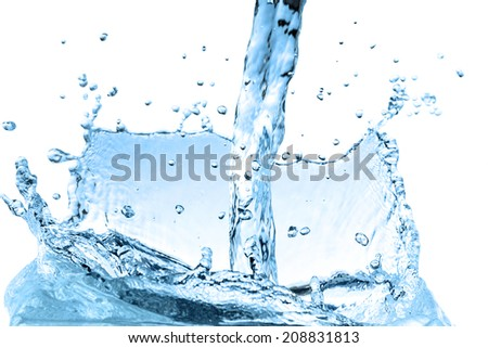 Splash water wave abstract isolated over white background