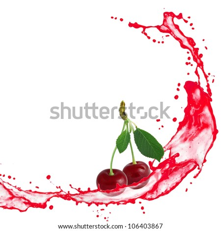 Splash with cherries isolated on white