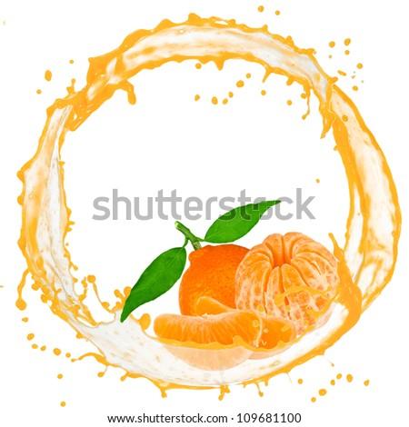 Splash with tangerine isolated on white - stock photo