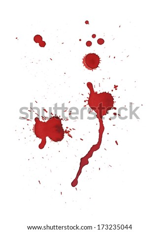 Splashed blood isolated on white