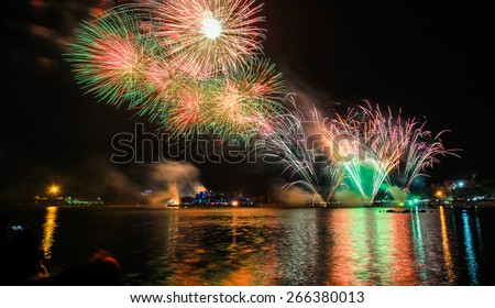 Splashes in colourful fireworks in the night sky.