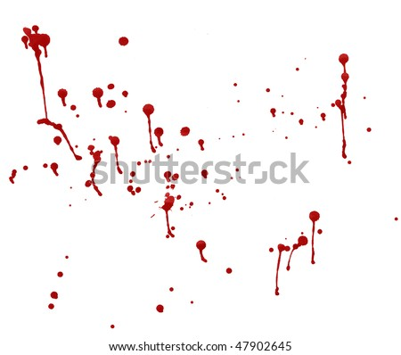 splashes of blood red splattered watercolor - stock photo