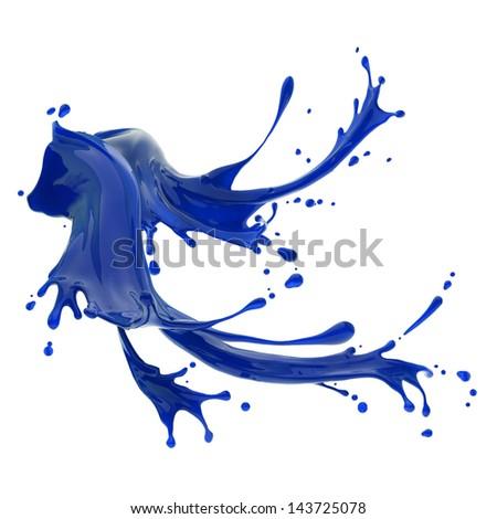 splashes of blue liquid isolated on white background template - stock photo