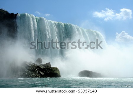 Splashes of the Niagara falls in a sunny day - stock photo