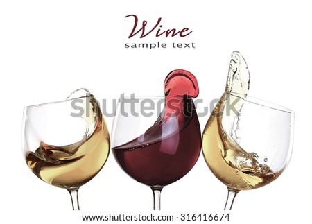 Splashes of wine isolated on white - stock photo