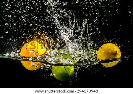 Splashing Fruits - stock photo