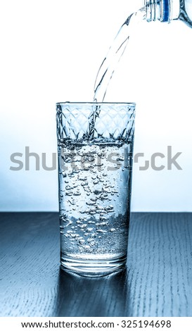 splashing into a glass water
